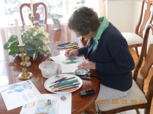 This more recent picture captures perfectly my mother's creative side. Over the years she designed hundreds of pencil and ink cards featuring her signature birds. No occasion was complete without one of her delightful creations.