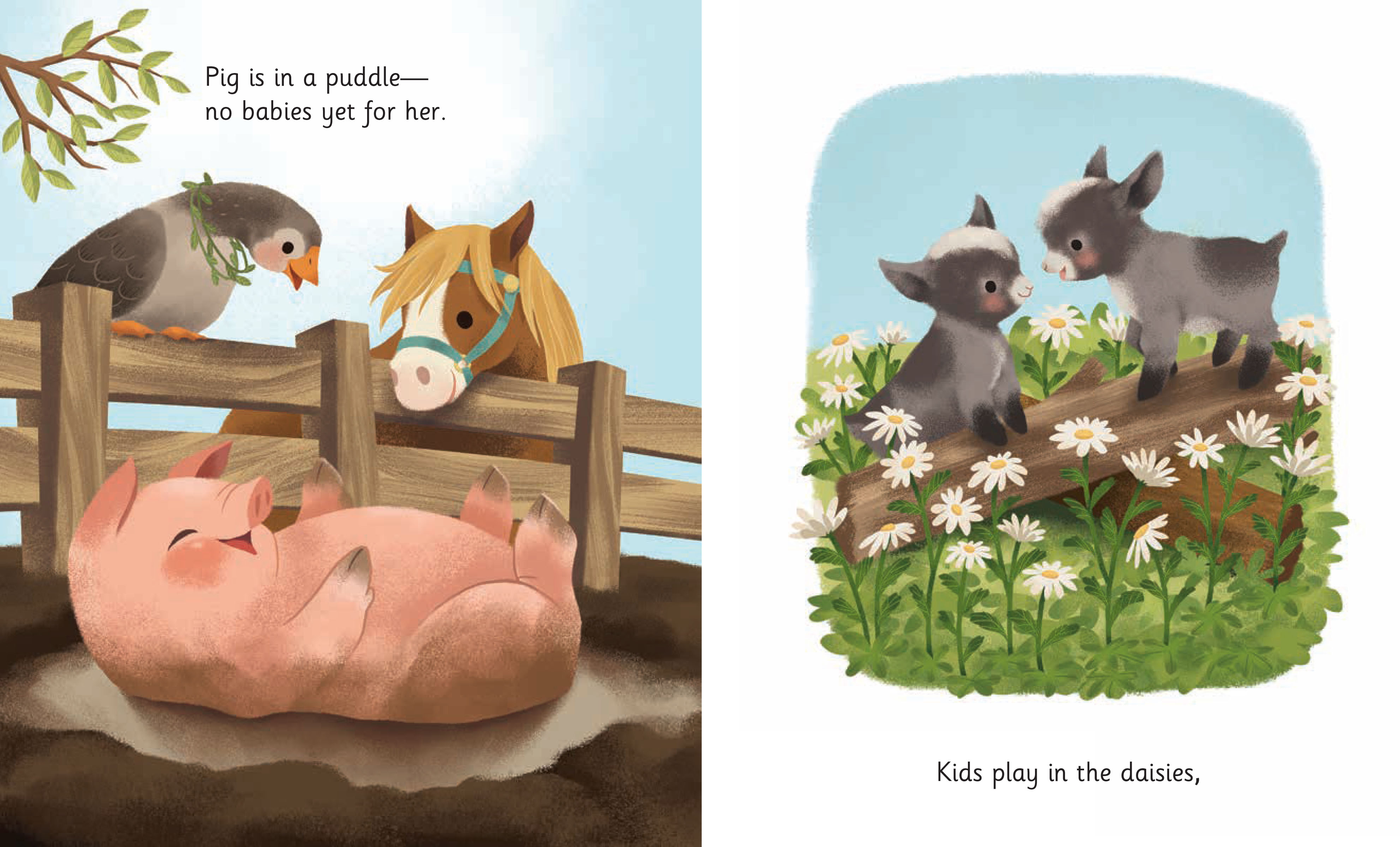 springtime babies. pig is in a puddle